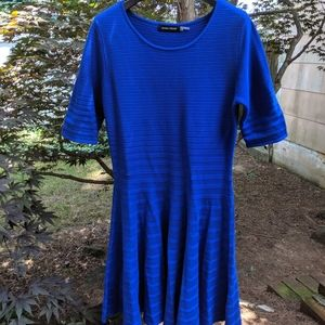 Fit & flare royal blue sweater dress, elbow sleeve